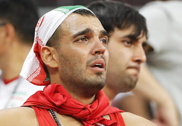 <p>Iran's supporter reacts after their 2018 FIFA World Cup Group B football match against Portugal at Mordovia Arena Stadium. The game ended in a 1:1 draw. Mikhail Japaridze/TASS (Photo by Mikhail Japaridze\TASS via Getty Images) </p>