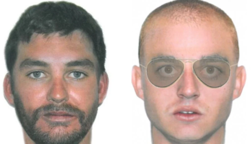 Artist impression drawings of two men being sought by police in relation to a string of Queensland robberies.