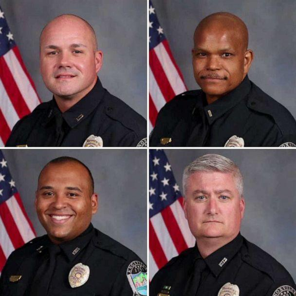 PHOTO: (clockwise from top left) Officer Brian Baldwin, Lt. Stanley Cash, Officer Adam Willson and Officer Jonathan Clabough are shown in undated photos released by the Knoxville Police Department. (Knoxville Police Department)