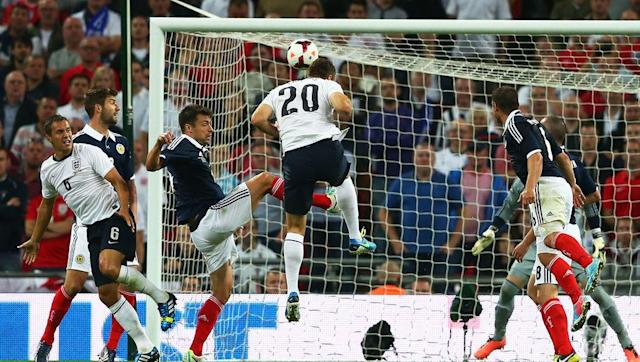 <p>Arranged to mark the English FA's 150th anniversary, these old foes met for the first time in 14 years and provided the spectacle befitting of the occasion. </p> <br><p>The unfancied Scots had twice taken the lead at Wembley, with James Morrison and Kenny Miller scoring early on in either half. Both times however, they saw their lead cancelled out, as Theo Walcott and Danny Welbeck equalised to leave the stage set for Rickie Lambert to achieve an extraordinary feat. </p> <br><p>The former Southampton striker came off the bench to thunder home a header in the 70th minute to not only grab the Three Lions the winner, but also score with his very first touch in international football.</p> <br><p>Lambert would go on to score twice more for his country and his impressive domestic form would see him included in the England squad for their underwhelming 2014 World Cup campaign in Brazil.</p>