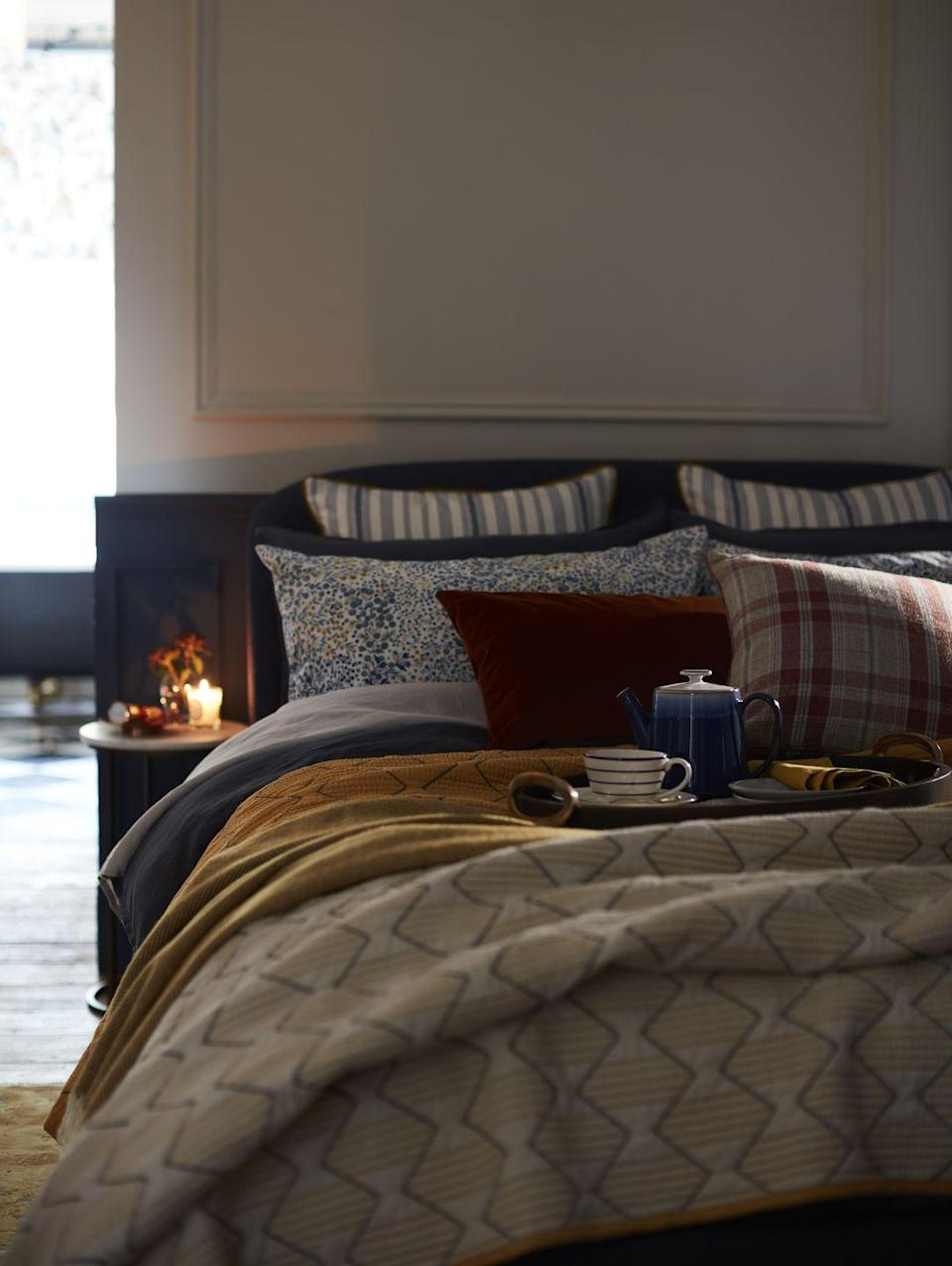"""<p>Create a stylish and welcoming retreat in your <a href=""""https://www.housebeautiful.com/uk/decorate/bedroom/a36737085/top-bedroom-design-trends-2021/"""" rel=""""nofollow noopener"""" target=""""_blank"""" data-ylk=""""slk:bedroom"""" class=""""link rapid-noclick-resp"""">bedroom</a> with a new winter-ready duvet cover. Soft furnishings and accessories never fail to brighten a dull, cold day. </p>"""