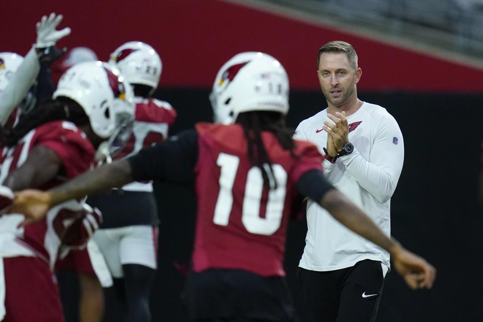 Arizona Cardinals coach Kliff Kingsbury is looking for his first NFL playoff appearance. (AP Photo/Ross D. Franklin)