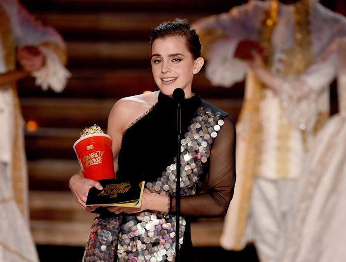 Actor Emma Watson accepts Best Actor in a Movie for 'Beauty and the Beast' onstage during the 2017 MTV Movie And TV Awards at The Shrine Auditorium on May 7, 2017 in Los Angeles, California.
