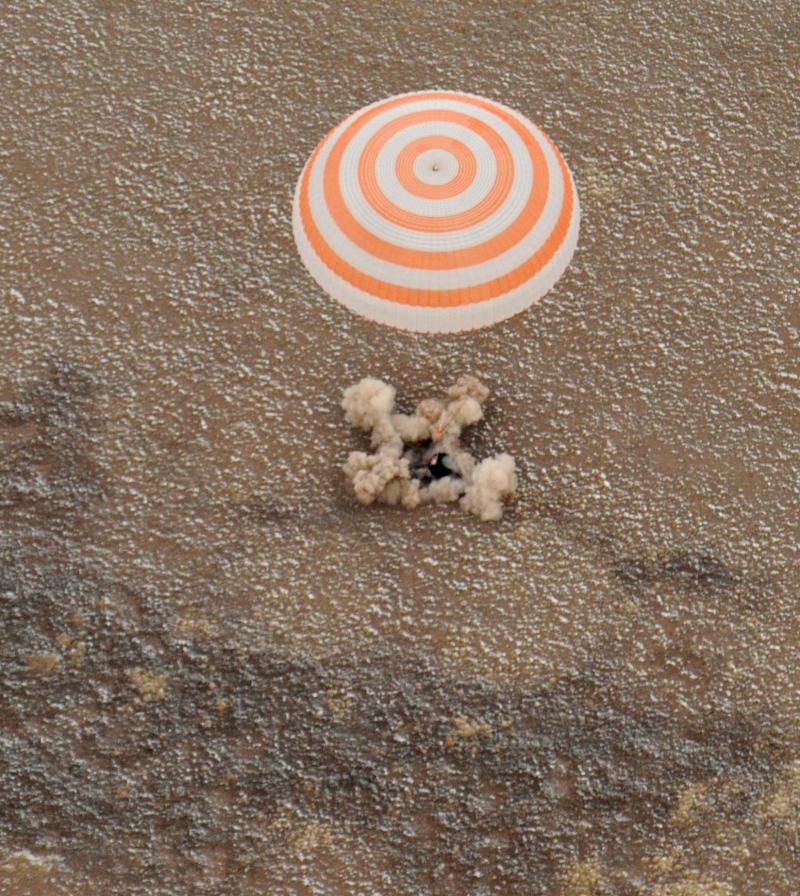 The Soyuz  spacecraft with Expedition 25 Commander Doug Wheelock and Flight Engineers Shannon Walker and Fyodor Yurchikhin touches down near the town of Arkalyk, Kazakhstan on Friday, Nov. 26, 2010.  Russian Cosmonaut Yurchikhin and NASA Astronauts Wheelock and Walker, are returning from six months onboard the International Space Station where they served as members of the Expedition 24 and 25 crews. The crew worked in orbit for 162 days. (AP Photo/NASA - Bill Ingalls)
