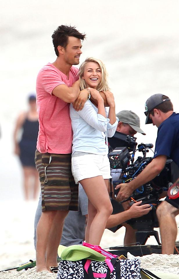 Josh Duhamel and Julianne Hough seen looking relaxed together while shooting scenes for new film 'Safe Haven' in Southport. The topless 'Transformer' actor was seen laughing and joking with Julianne between takes as they shoot their new film on location in Miami.