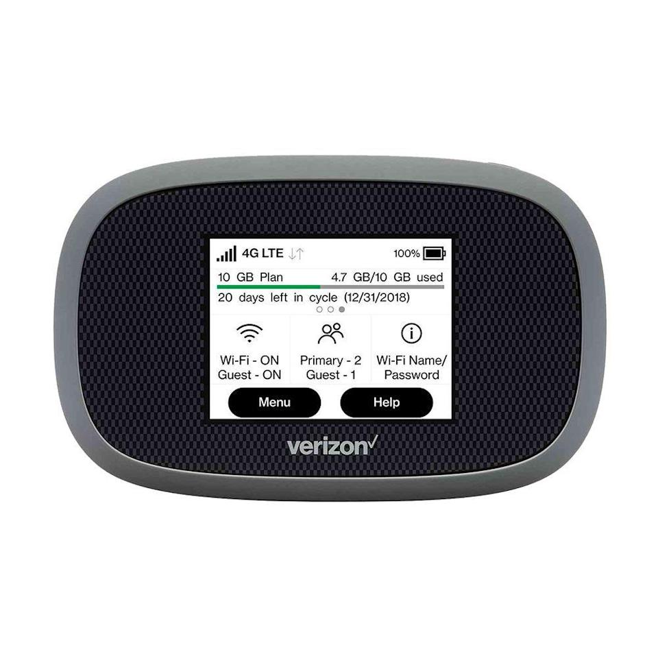"""<p><strong>Inseego</strong></p><p>verizonwireless.com</p><p><strong>$199.99</strong></p><p><a href=""""https://go.redirectingat.com?id=74968X1596630&url=https%3A%2F%2Fwww.verizonwireless.com%2Finternet-devices%2Fverizon-jetpack-mifi-8800l%2F%3Fsku%3Dsku3220058&sref=https%3A%2F%2Fwww.bestproducts.com%2Ftech%2Fgadgets%2Fg1336%2Fportable-mobile-wifi-hotspots%2F"""" rel=""""nofollow noopener"""" target=""""_blank"""" data-ylk=""""slk:Shop Now"""" class=""""link rapid-noclick-resp"""">Shop Now</a></p><p>Verizon's Jetpack 8800L is a top-shelf portable Wi-Fi hotspot with robust LTE connectivity, intuitive touchscreen controls, and a large 4,440 mAh battery that helps it deliver mobile internet for up to 24 hours. The battery is also removable, so you can <a href=""""https://www.amazon.com/Upgraded-Wavypo-Battery-4500mAh-Replacemet/dp/B07XCNW7XK/?tag=syn-yahoo-20&ascsubtag=%5Bartid%7C2089.g.1336%5Bsrc%7Cyahoo-us"""" rel=""""nofollow noopener"""" target=""""_blank"""" data-ylk=""""slk:purchase additional batteries"""" class=""""link rapid-noclick-resp"""">purchase additional batteries</a> for some extra juice.<br></p><p>The Jetpack can connect up to 15 devices to a Wi-Fi 802.11b/g/n network, it outputs both 2.4 GHz and 5 GHz signals, and it uses WPA2 encryption. It also has a convenient guest option, so you can keep your main password private. It even works as a <a href=""""https://www.bestproducts.com/tech/gadgets/g602/portable-external-battery-packs/"""" rel=""""nofollow noopener"""" target=""""_blank"""" data-ylk=""""slk:backup battery pack"""" class=""""link rapid-noclick-resp"""">backup battery pack</a>, and it can keep your other devices charged — as long as they recharge with a USB-C port.</p><p>Verizon charges $80 per month for """"unlimited"""" data, which includes 15GB of 4G LTE, but Verizon throttles speeds after you use that allotted amount. Verizon has service in more than 200 countries.</p><p><strong>More: </strong><a href=""""https://www.bestproducts.com/tech/electronics/a31436006/wifi-6-router-guide/"""" rel=""""nofollow noopener"""" target=""""_blank"""" data-ylk=""""slk:H"""