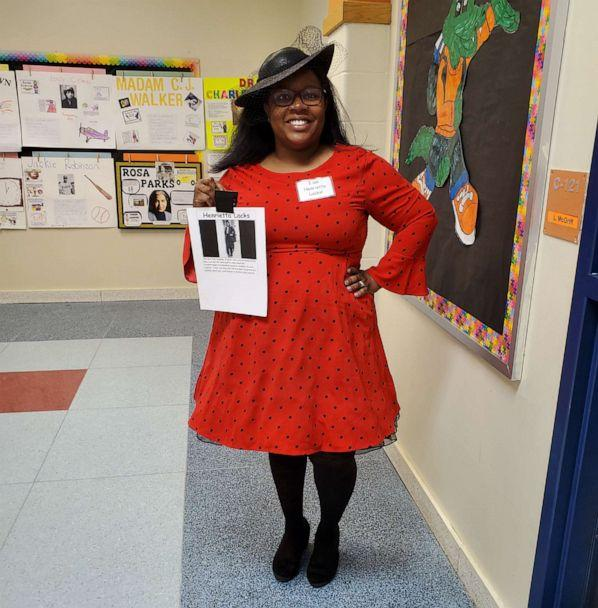 PHOTO: First grade teacher, Latoya McGriff, disguised as Henrietta Lacks. Missing HeLa cells lead to important breakthroughs in biomedical research. (Courtesy of Latoya McGriff)