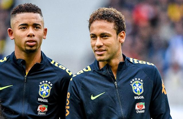 Brazil forward Gabriel Jesus expects to be playing alongside Neymar at the World Cup (AFP Photo/PHILIPPE HUGUEN)