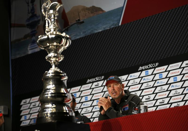 Oracle CEO Larry Ellison speaks at a news conference after Oracle Team USA won Race 19 and the overall title of the 34th America's Cup yacht sailing race over Emirates Team New Zealand in San Francisco