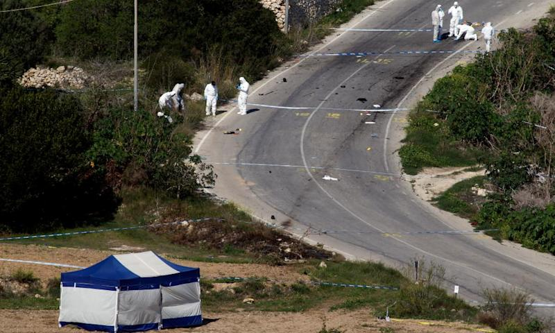 Forensic experts search for evidence folllowing the death of Daphne Caruana Galizia in the village of Bidnija.