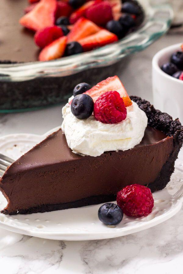 "<p>Made with both milk and dark chocolate, this plate is a chocolate lover's dream. Every forkful is incredibly rich and satisfying.</p><p><strong>Get the recipe at <a href=""https://www.justsotasty.com/no-bake-chocolate-pie/"" rel=""nofollow noopener"" target=""_blank"" data-ylk=""slk:Just So Tasty"" class=""link rapid-noclick-resp"">Just So Tasty</a>.</strong></p><p><strong><strong><a class=""link rapid-noclick-resp"" href=""https://go.redirectingat.com?id=74968X1596630&url=https%3A%2F%2Fwww.walmart.com%2Fip%2FCuisinart-Elemental-8-Cup-Food-Processor-Gunmetal-FP-8GM%2F44997813&sref=https%3A%2F%2Fwww.countryliving.com%2Ffood-drinks%2Fg957%2Fchocolate-pie-recipes%2F"" rel=""nofollow noopener"" target=""_blank"" data-ylk=""slk:SHOP FOOD PROCESSORS"">SHOP FOOD PROCESSORS</a></strong><br></strong></p>"