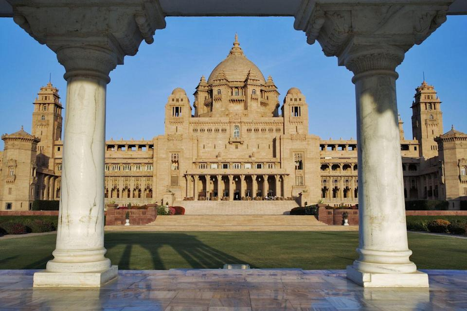 "<p>The honey sandstone and white marble palace towering over Jodhpur was first established by Maharaja Umaid Singh in 1943 as a royal residence. Inspired by the architecture of the Art Deco movement, the palace features traditional Indian decorations throughout its 347 rooms and halls with jaw-dropping Polish frescoes mixed in. While the former Jodhpur royal family still resides at the palace, a section of the campus has been designated as a hotel for guests to learn about the fascinating history of the Rajasthan region.</p><p><a class=""link rapid-noclick-resp"" href=""https://www.tajhotels.com/en-in/taj/umaid-bhawan-palace-jodhpur/"" rel=""nofollow noopener"" target=""_blank"" data-ylk=""slk:Book Now"">Book Now</a></p>"