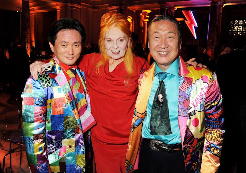 LONDON, ENGLAND - MARCH 19: (EMBARGOED FOR PUBLICATION IN UK TABLOID NEWSPAPERS UNTIL 48 HOURS AFTER CREATE DATE AND TIME. MANDATORY CREDIT PHOTO BY DAVE M. BENETT/GETTY IMAGES REQUIRED)(EXCLUSIVE COVERAGE) (L to R) Taro Otsuka, Dame Vivienne Westwood and Kansai Yamamoto attend the dinner to celebrate The David Bowie Is exhibition in partnership with Gucci and Sennheiser at the Victoria and Albert Museum on March 19, 2013 in London, England. (Photo by Dave M. Benett/Getty Images for Victoria and Albert Museum)