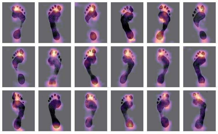 A series of footprints with a heat map over them.