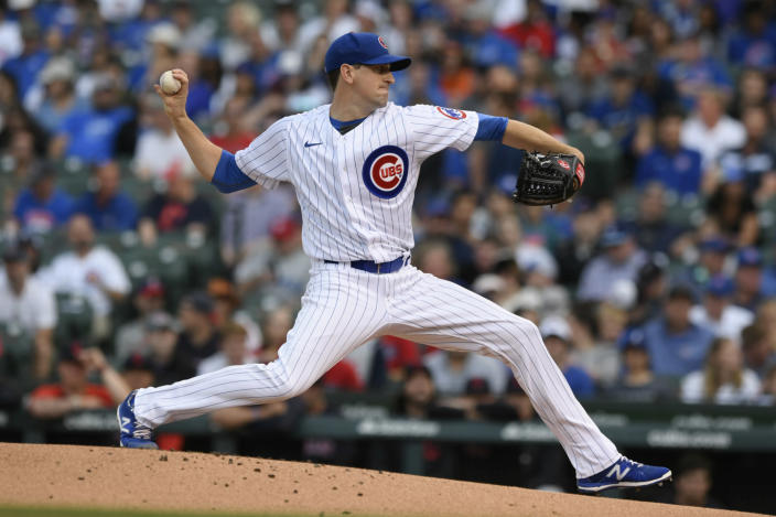 Chicago Cubs starter Kyle Hendricks delivers a pitch during the first inning of a baseball game against the Cleveland Indians Tuesday, June 22, 2021, in Chicago. (AP Photo/Paul Beaty)