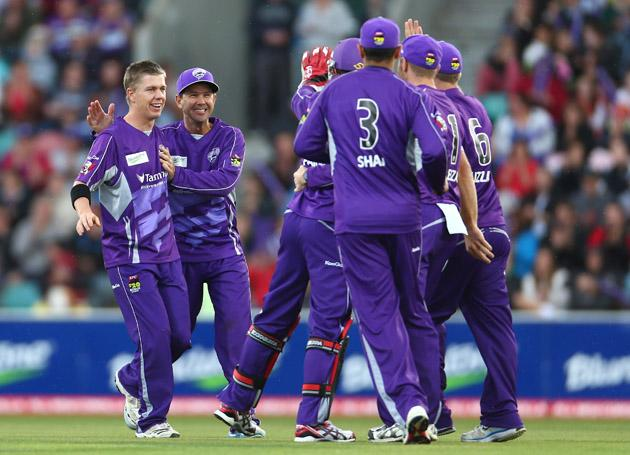 Xavier Doherty and Ricky Ponting of the Hurricanes celebrate the wicket of Herschelle Gibbs of the Scorchers during the Big Bash League match between the Hobart Hurricanes and the Perth Scorchers at Blundstone Arena on January 1, 2013 in Hobart, Australia.  (Photo by Robert Cianflone/Getty Images)