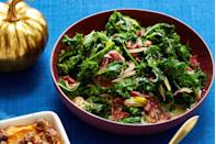 """<p>Tender, stewed kale is a great alternative to classic collards.<br></p><p><a href=""""https://www.womansday.com/food-recipes/food-drinks/recipes/a56470/kaleard-greens/"""" rel=""""nofollow noopener"""" target=""""_blank"""" data-ylk=""""slk:Get the &quot;Kaleard&quot; Greens recipe."""" class=""""link rapid-noclick-resp""""><em><strong>Get the """"Kaleard"""" Greens recipe.</strong></em></a></p>"""