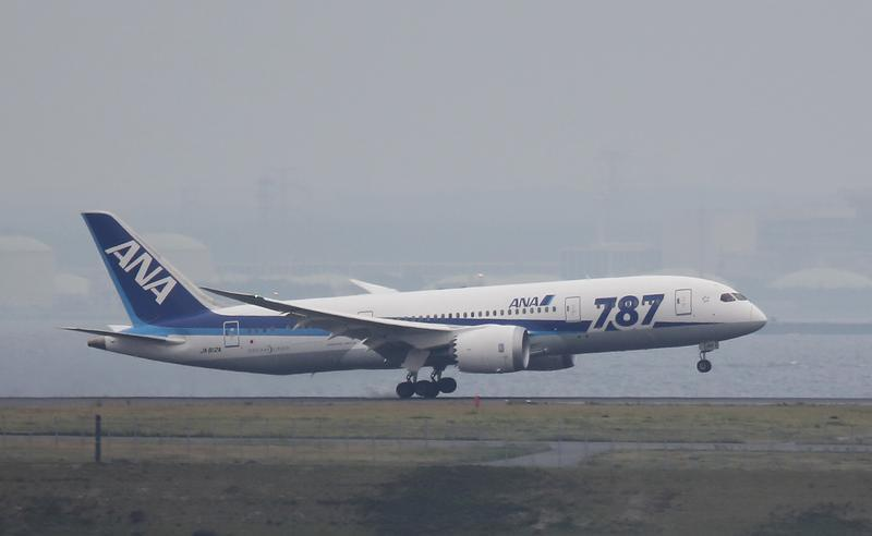 An ANA Boeing Co's 787 Dreamliner plane, which flew from Sapporo, lands at Haneda airport in Tokyo