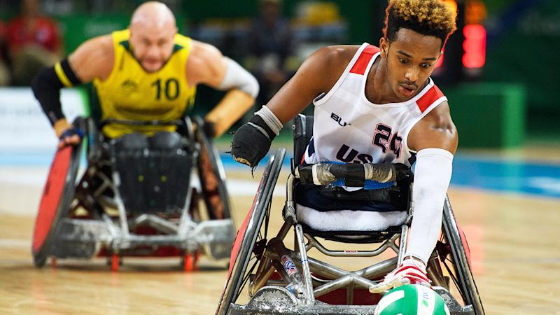 Wheelchair Rugby players, pictured here at the 2016 Paralympics.