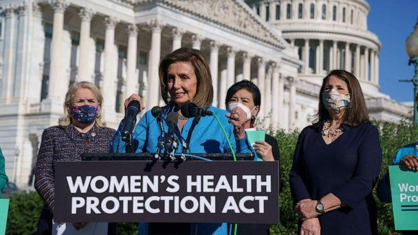 PHOTO: House Speaker Nancy Pelosi holds a news conference at the U.S. Capitol just before a House vote on legislation aimed at guaranteeing a woman's right to an abortion, a response to a Texas law that has placed that access under threat, Sept. 24, 2021. (J. Scott Applewhite/AP)