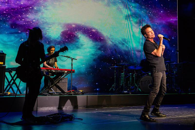 Three-time Grammy® award-winning rock band, Train, performs at Norwegian Bliss christening event on board in Seattle, Washington.