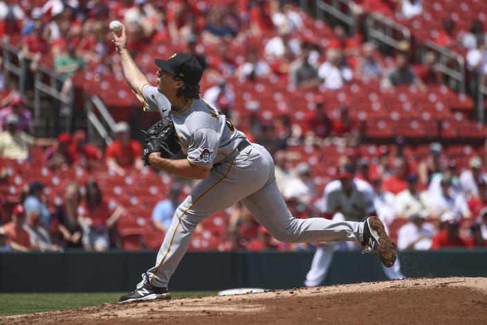 Pittsburgh Pirates starting pitcher Max Kranick throws during the second inning of a baseball game against the St. Louis Cardinals Sunday, June 27, 2021, in St. Louis. (AP Photo/Joe Puetz)