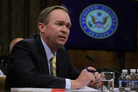 Rep. Mick Mulvaney (R-SC) testifies before a Senate Budget Committee confirmation hearing on his nomination of to be director of the Office of Management and Budget on Capitol Hill in Washington, U.S., January 24, 2017. REUTERS/Carlos Barria