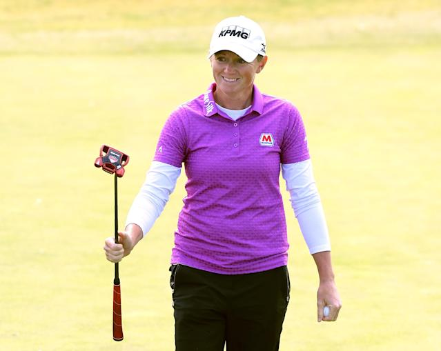 "Shortly after learning she was pregnant, <a class=""link rapid-noclick-resp"" href=""/golf/lpga/players/Stacy+Lewis/8689"" data-ylk=""slk:Stacy Lewis"">Stacy Lewis</a> got a surprise call from one of her biggest sponsors. (Getty Images)"