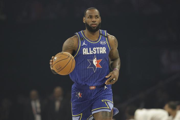 LeBron James of the Los Angeles Lakers at the 2020 All-Star game