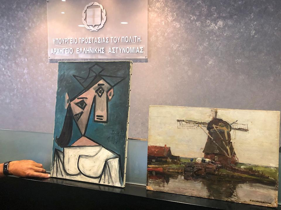 This handout photograph taken and released by the Greek Culture Ministry on June 29, 2021 shows a recovered painting of Picasso titled