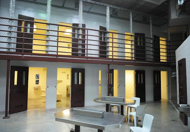 GUANTANAMO BAY, CUBA - DECEMBER 10: An image reviewed by the U.S. military shows a cell block which has been converted into a classroom in the Camp Six detention facility December 10, 2008 on U.S. Naval Station Guantanamo Bay, Cuba. Opened in December 2006, Camp Six is the newest detention facility. (Photo by Mandel Ngan-Pool/Getty Images)