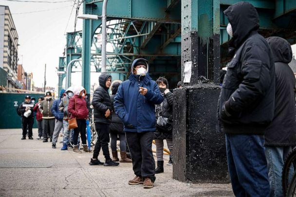 PHOTO: Patients wait in line outside an urgent care pharmacy while wearing personal protective equipment, March 25, 2020, in Queens, New York. (John Minchillo/AP)