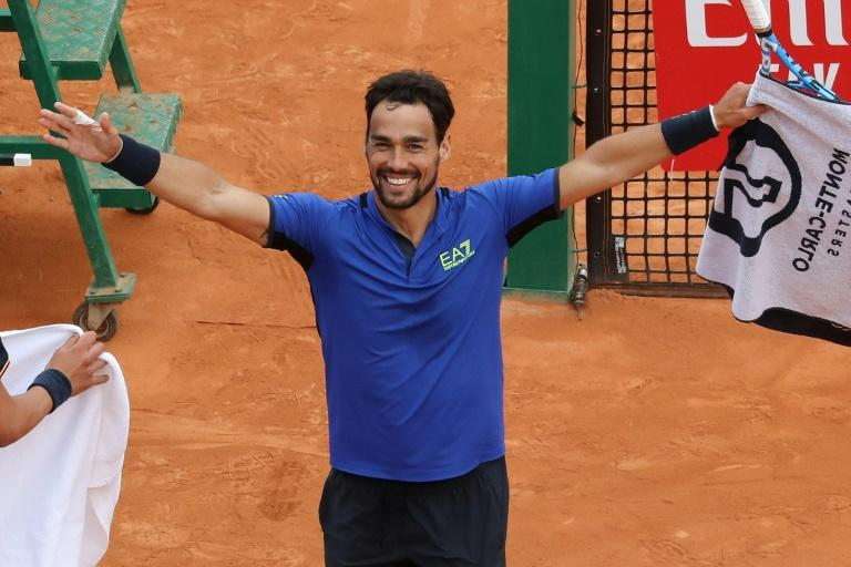 Fabulous Fabio: Italy's Fabio Fognini celebrates after defeating Rafael Nadal