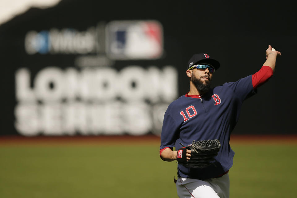 Boston Red Sox starting pitcher David Price throws during batting practice in London, Friday, June 28, 2019. Major League Baseball will make its European debut with the New York Yankees versus Boston Red Sox game at London Stadium this weekend. (AP Photo/Tim Ireland)
