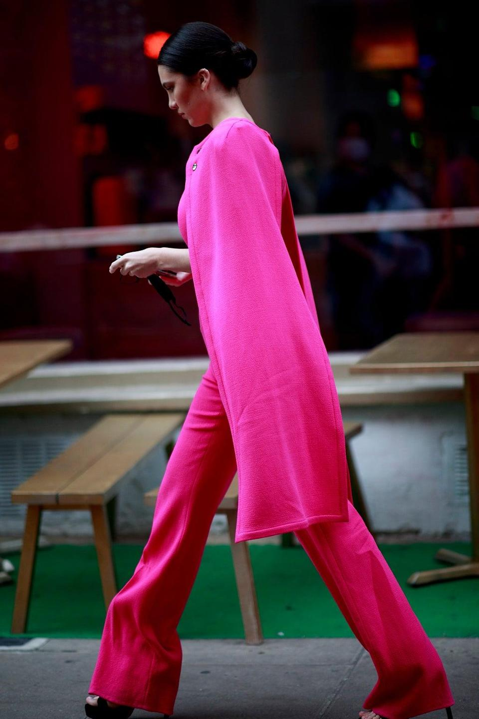 Neon dressing was a street style favourite (Valentina Valdinoci for Imaxtree)