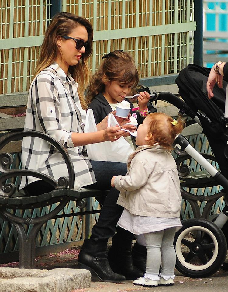 Jessica Alba kept her kids cool with some ice cream in New York City on Monday. Though eldest daughter, Honor, who turns 5 next month, handled her sweet treat on her own, her little sis, 21-month-old Haven, needed a little help from Mom. (5/6/2013)