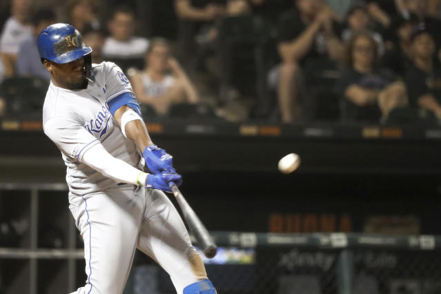 Kansas City Royals' Jorge Soler hits a two-run home run off Chicago White Sox relief pitcher Carson Fulmer during the eighth inning of a baseball game Wednesday, Sept. 11, 2019, in Chicago. (AP Photo/Charles Rex Arbogast)