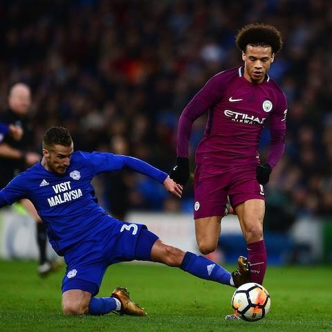 <span>Sane suffered ankle ligament damage as a result of Joe Bennett's challenge</span> <span>Credit: GETTY IMAGES </span>