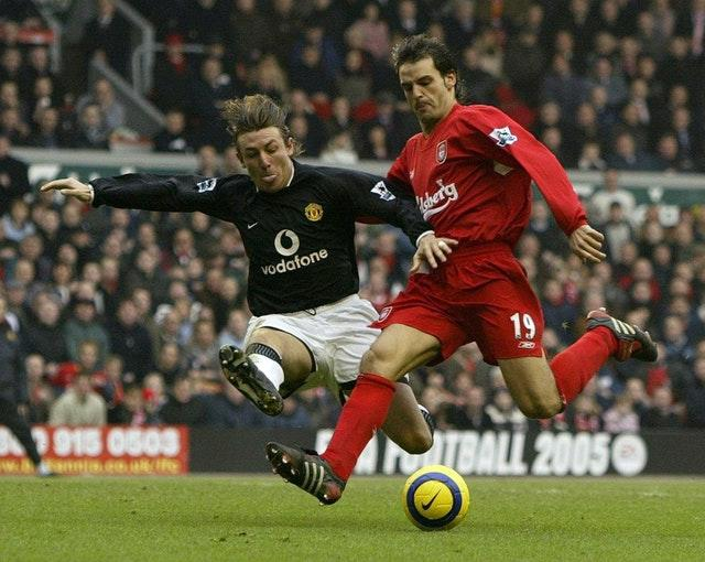 Heinze, right, was keen to swap Old Trafford for Anfield
