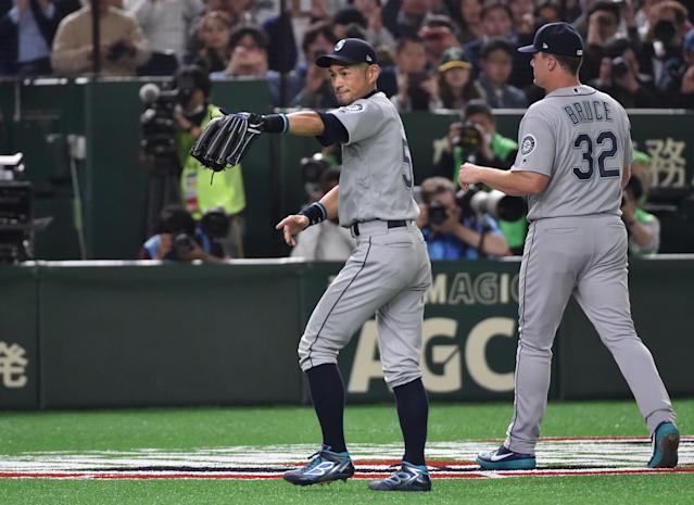 Ichiro only played 3 1/2 innings, but he was the star of the Mariners-A's season opener in Tokyo. (Getty Images)