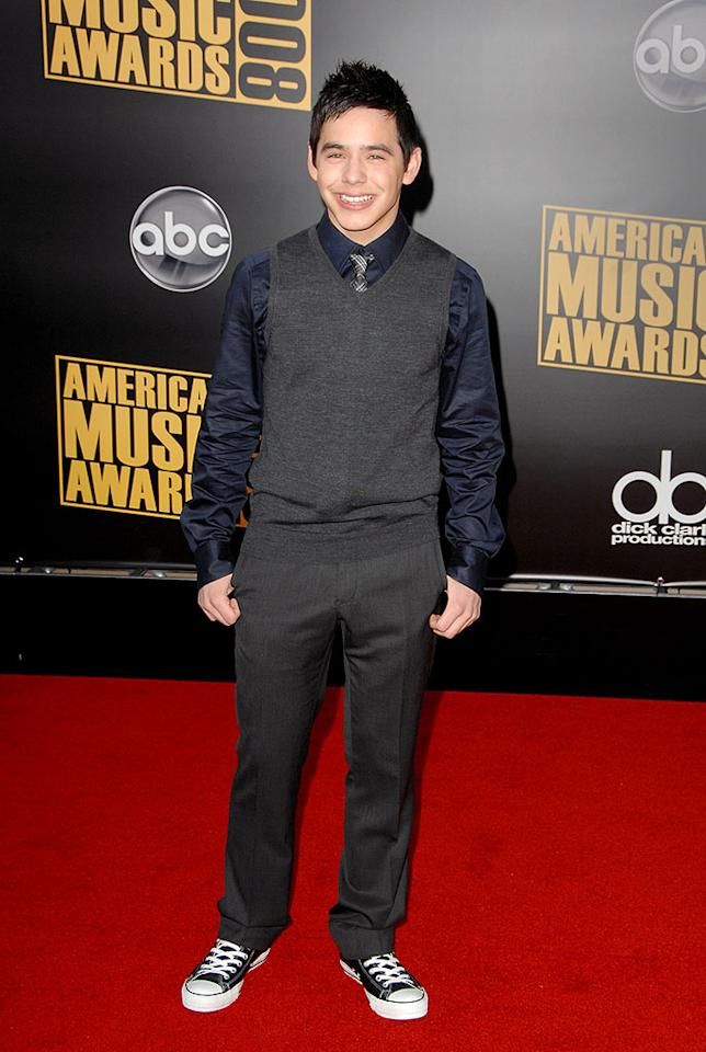 """Meanwhile, 17-year-old """"Idol"""" runner-up David Archuleta dressed down his red carpet look with a comfortable pair of Converse Chucks. Steve Granitz/<a href=""""http://www.wireimage.com"""" target=""""new"""">WireImage.com</a> - November 23, 2008"""