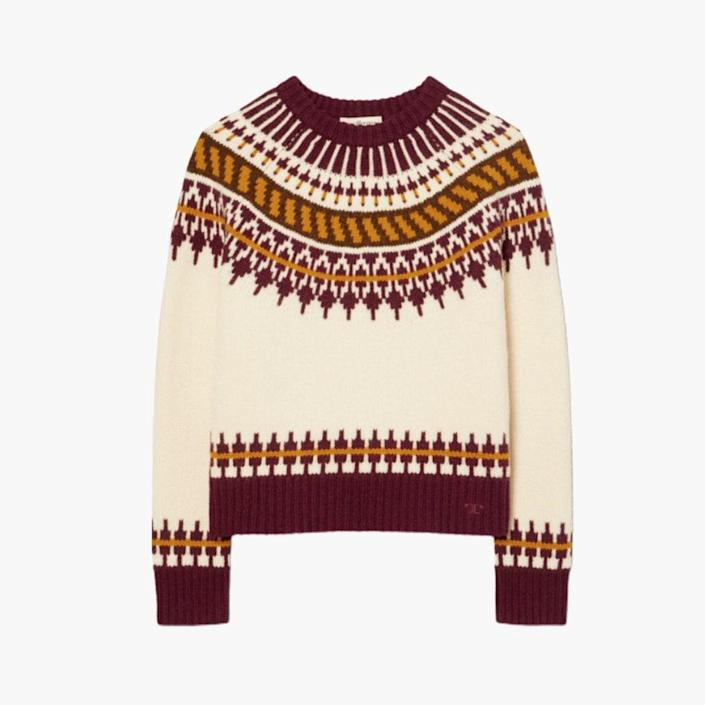 """$398, TORY BURCH. <a href=""""https://www.toryburch.com/en-us/clothing/sweaters/fair-isle-sweater/84420.html?color=285"""" rel=""""nofollow noopener"""" target=""""_blank"""" data-ylk=""""slk:Get it now!"""" class=""""link rapid-noclick-resp"""">Get it now!</a>"""