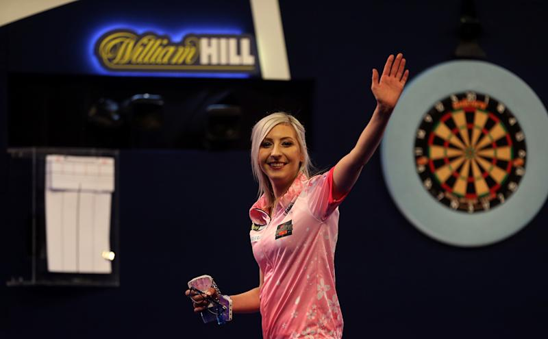 Fallon Sherrock celebrating after becoming the first women to win a game in the PDC William Hill World Championship during day five of the William Hill World Championships at Alexandra Palace, London. (Photo by Steven Paston/PA Images via Getty Images)