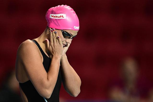 This file photo taken on August 09, 2015 shows Russia's Yuliya Efimova preparing to compete in the final of the women's 50m breaststroke swimming event at the 2015 FINA World Championships in Kazan (AFP Photo/Martin Bureau)