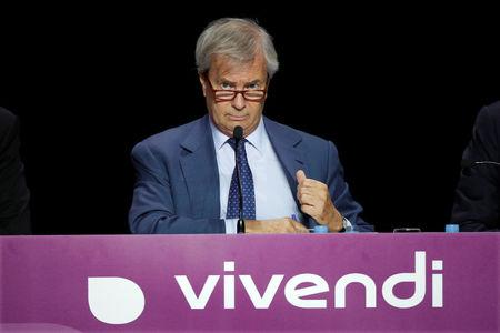 Vincent Bollore, Chairman of the Supervisory Board of media group Vivendi, attends the company's shareholders meeting in Paris