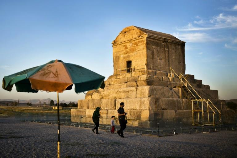 An Iranian family visits the tomb of ancient king Cyrus the Great, founder of the Persian Achaemenid Empire in 6th century BC  in the town of Pasargadae,  northeast of the southern city of Shiraz on May 19, 2015
