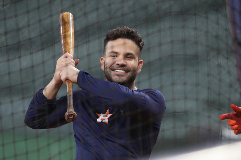 Houston Astros' Jose Altuve takes batting practice during a workout for a baseball American League Championship Series in Houston, Friday, Oct. 11, 2019. Houston will face the New York Yankees, Saturday. (AP Photo/Eric Gay)