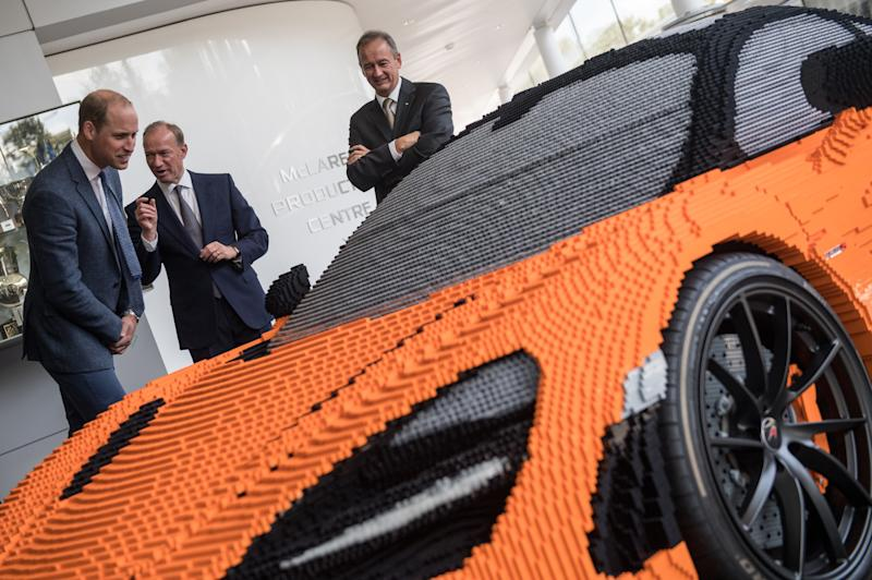 """""""My son's very into Lego and he'd love this. It's incredible,"""" said Prince William. (WPA Pool via Getty Images)"""