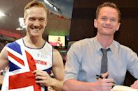 <p>British long jumper Greg Rutherford (left) and actor Neil Patrick Harris (right). </p>
