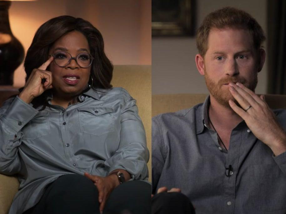 <p>Shared experiences: Oprah Winfrey and Prince Harry in the trailer for 'The Me You Can't See'</p> (YouTube/Apple TV)